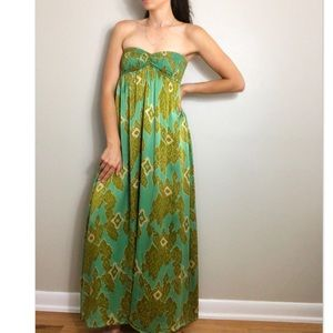 INDAH Green patterned Silk Strapless Maxi Dress S